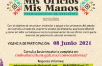 COAHUILA MANTIENE ABIERTA LA CONVOCATORIA DEL PREMIO ESTATAL DE ARTESANÍA 'MIS OFICIOS, MIS MANOS'