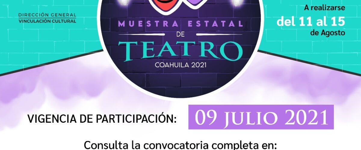 CULTURA COAHUILA MANTIENE ABIERTA LA CONVOCATORIA DE LA MUESTRA ESTATAL DE TEATRO